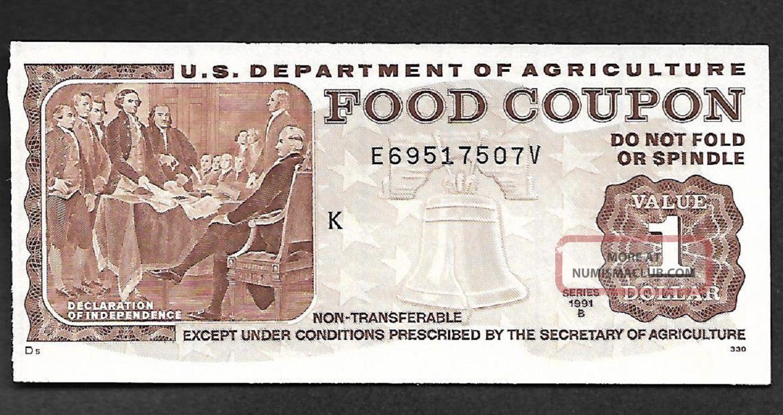 Food Stamp Coupon Unc Usda 1991 B $1.  00 E69517507v Month Code K Paper Money: US photo