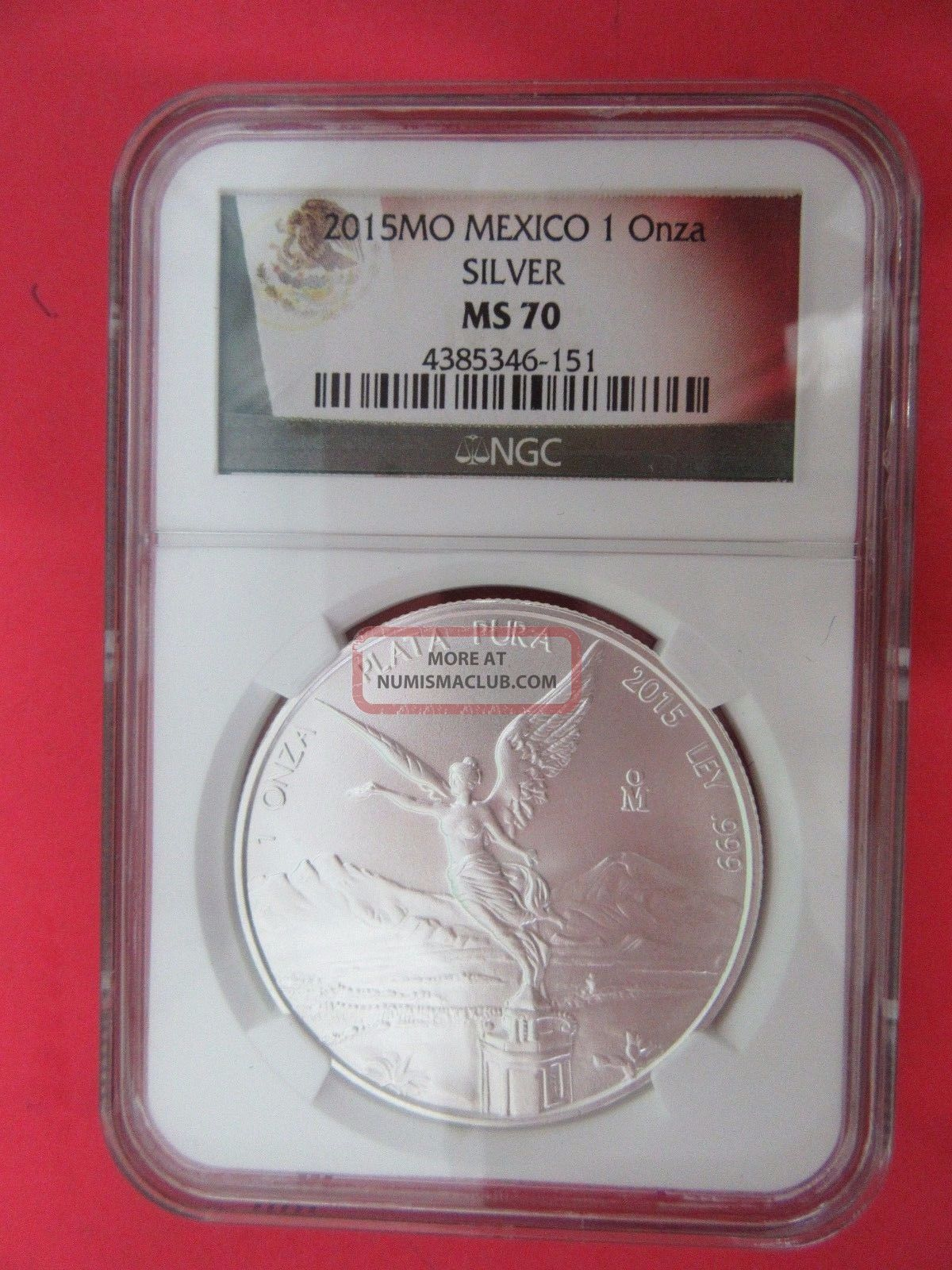 2015 Mexico 1 Onza Silver Ngc Ms 70 Mexico photo