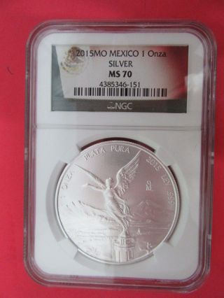 2015 Mexico 1 Onza Silver Ngc Ms 70 photo