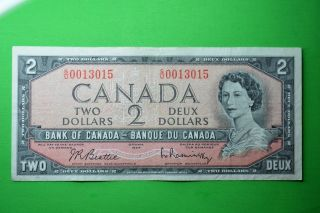 1954 Canada Bill 2$ Au Beatie - Rasminski S/u0013015.  Low Number. photo