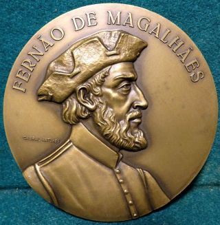 Explorer Ferdinand Magellan / World Map,  Caravel 89mm Bronze Medal By C.  Antunes photo
