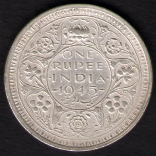 British India - 1945 - George Vi One Rupee Silver Coin Ex - Rare Coin photo
