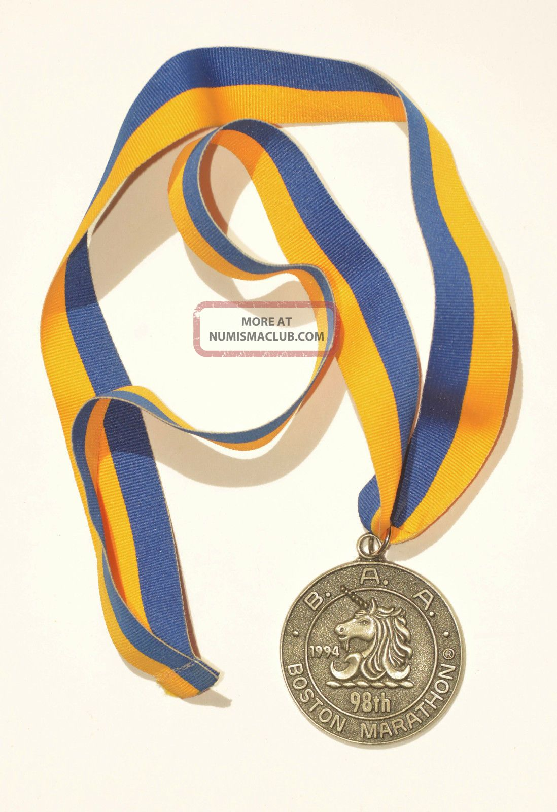 1994 Baa 98th Boston Marathon Pewter Unicorn Finisher Medal & Ribbon Unengraved Exonumia photo