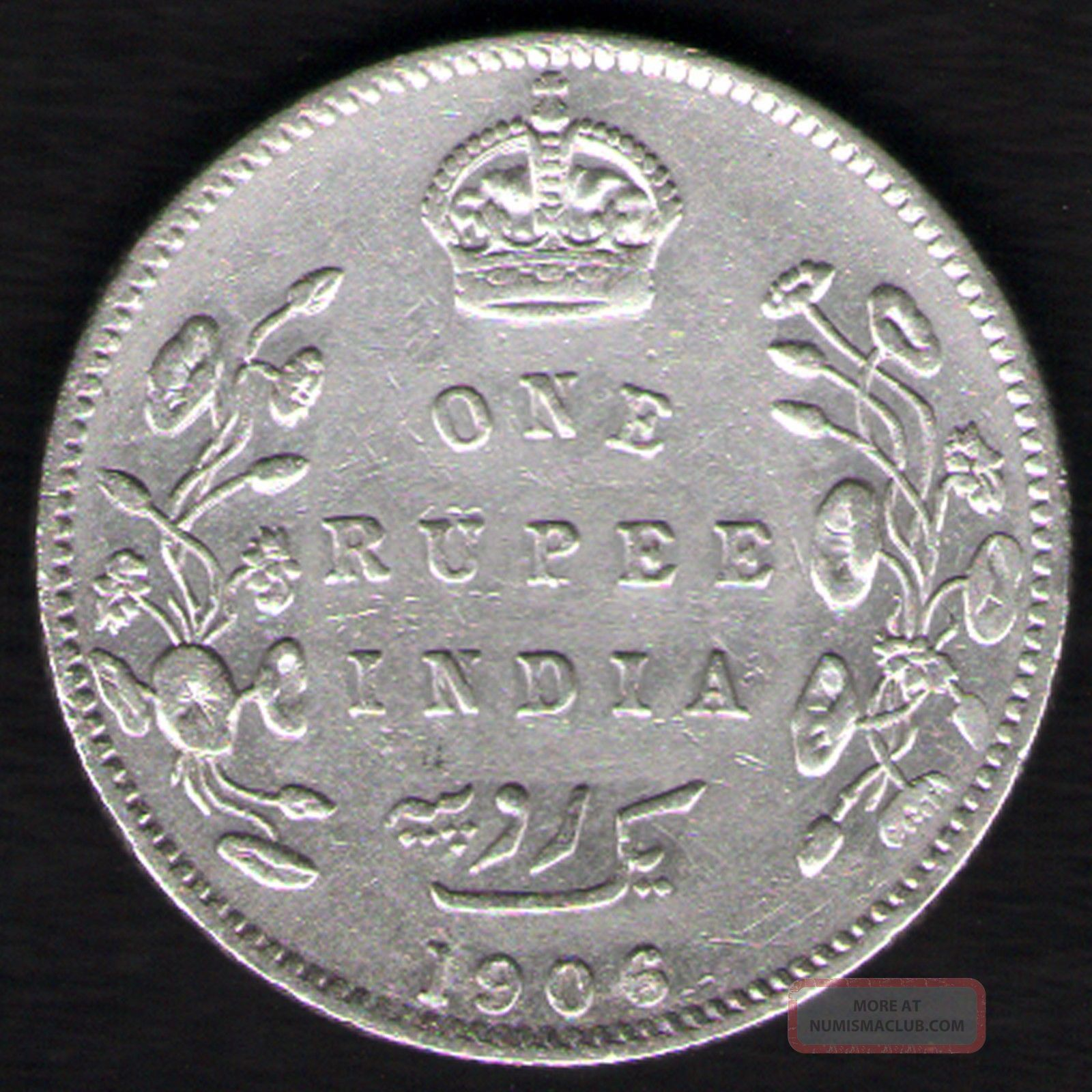 British India - 1906 - Edward Vii One Rupee Silver X - Fine Coin Ex - Rare Date British photo
