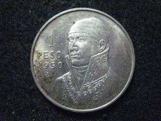 1950 Mexico Peso Silver Bu Touch Of Golden Tone photo