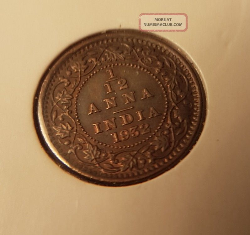 British India Gem Unc Ms 1/12 Anna 1932 India photo