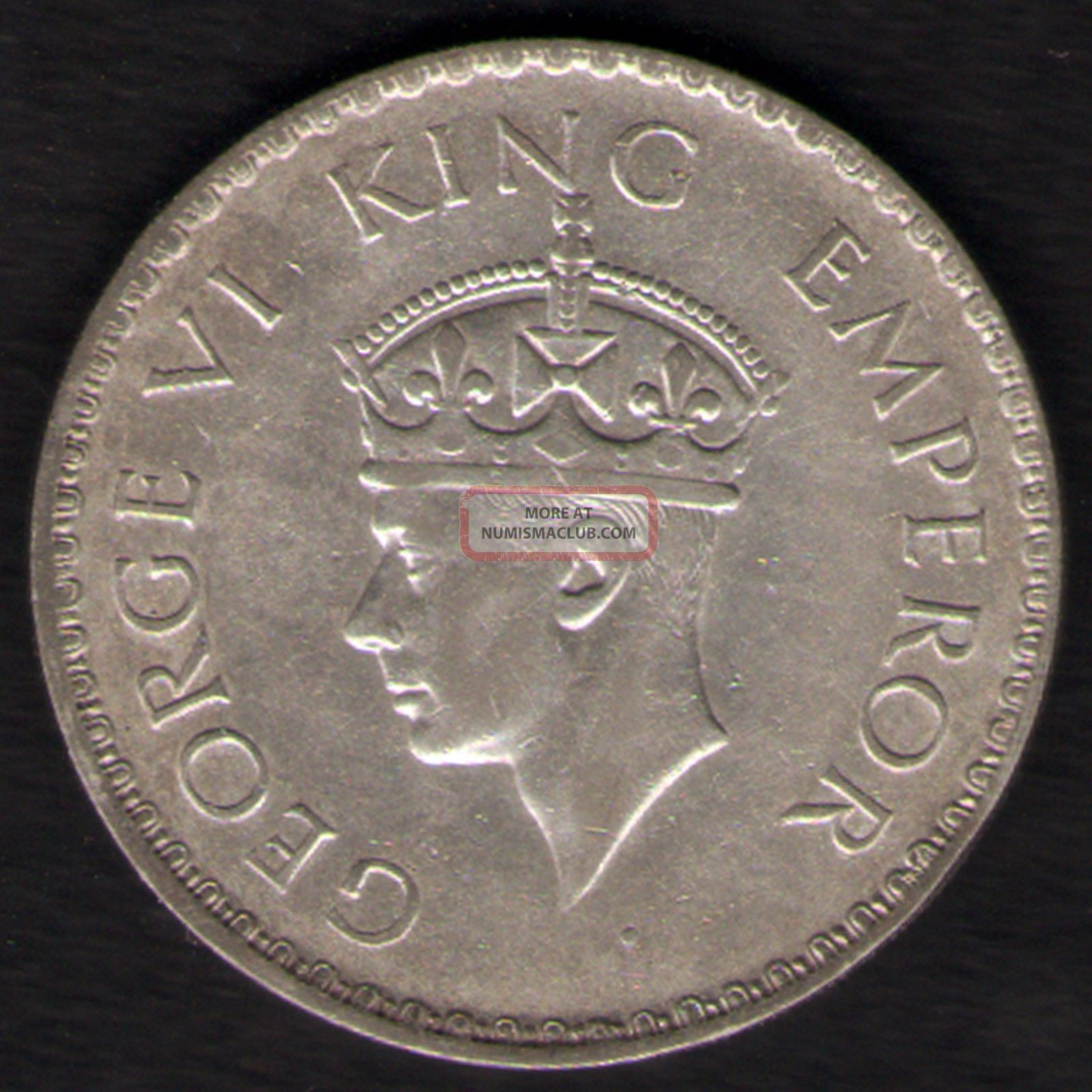 British India - 1940 - George Vi One Rupee Silver Coin Ex - Rare Coin British photo