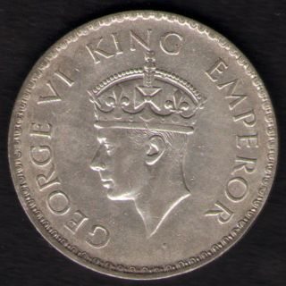 British India - 1940 - George Vi One Rupee Silver Coin Ex - Rare Coin photo