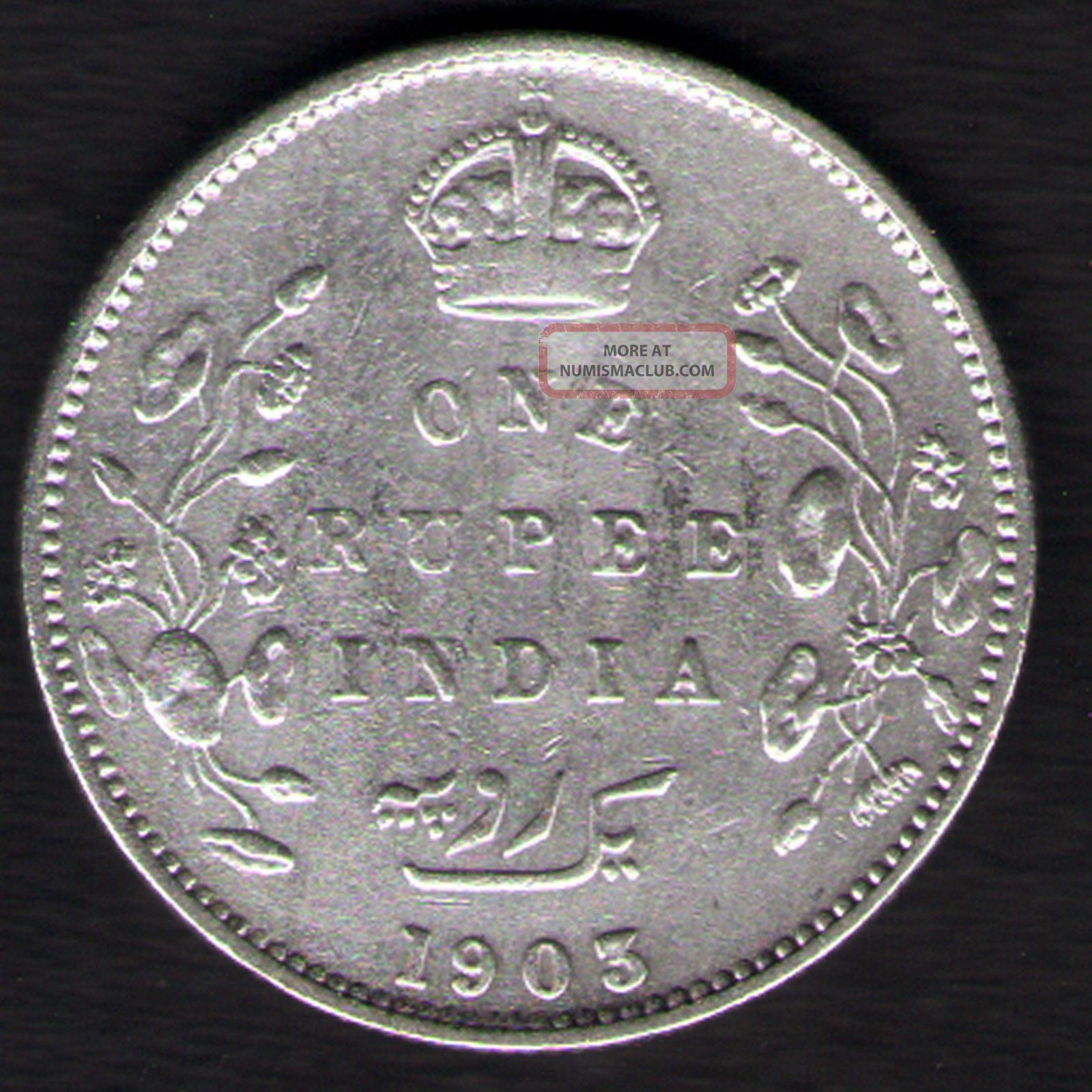 British India - 1903 - Edward Vii One Rupee Silver X - Fine Coin Ex - Rare Date India photo
