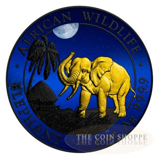 Somalian Elephant African Night 2017 1 Oz Silver Coin Color Black Ruthenium photo