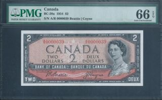 Canada,  Bank Of Canada $2 1954 Bc - 38a Low No.  39 Pmg 66 Epq Gem Unicirculated photo