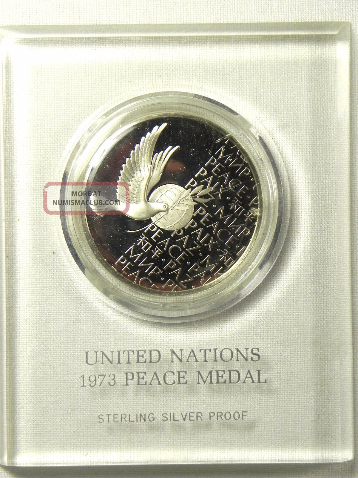 Vintage 1973 Un Peace Medal Sterling Silver Proof Frosted Relief Historic Coin Exonumia photo