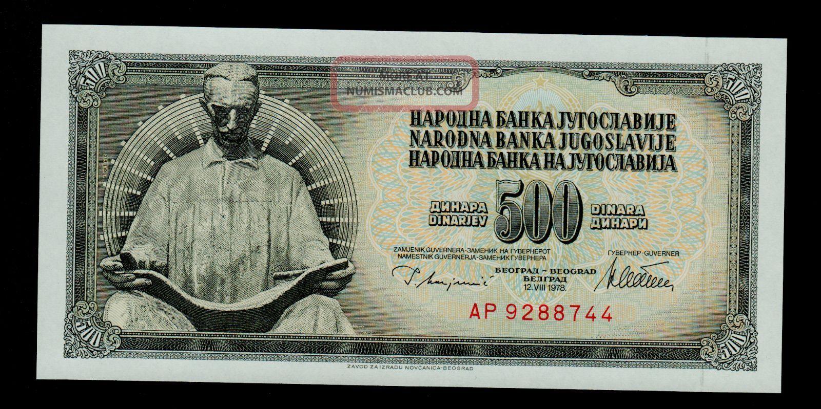 Yugoslavia 500 Dinara 1978 Pick 91a Unc Yugoslavia photo