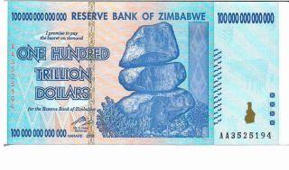 Zimbabwe 100 Trillion Dollars,  Aa /2008,  Unc 100 Trillion Series photo