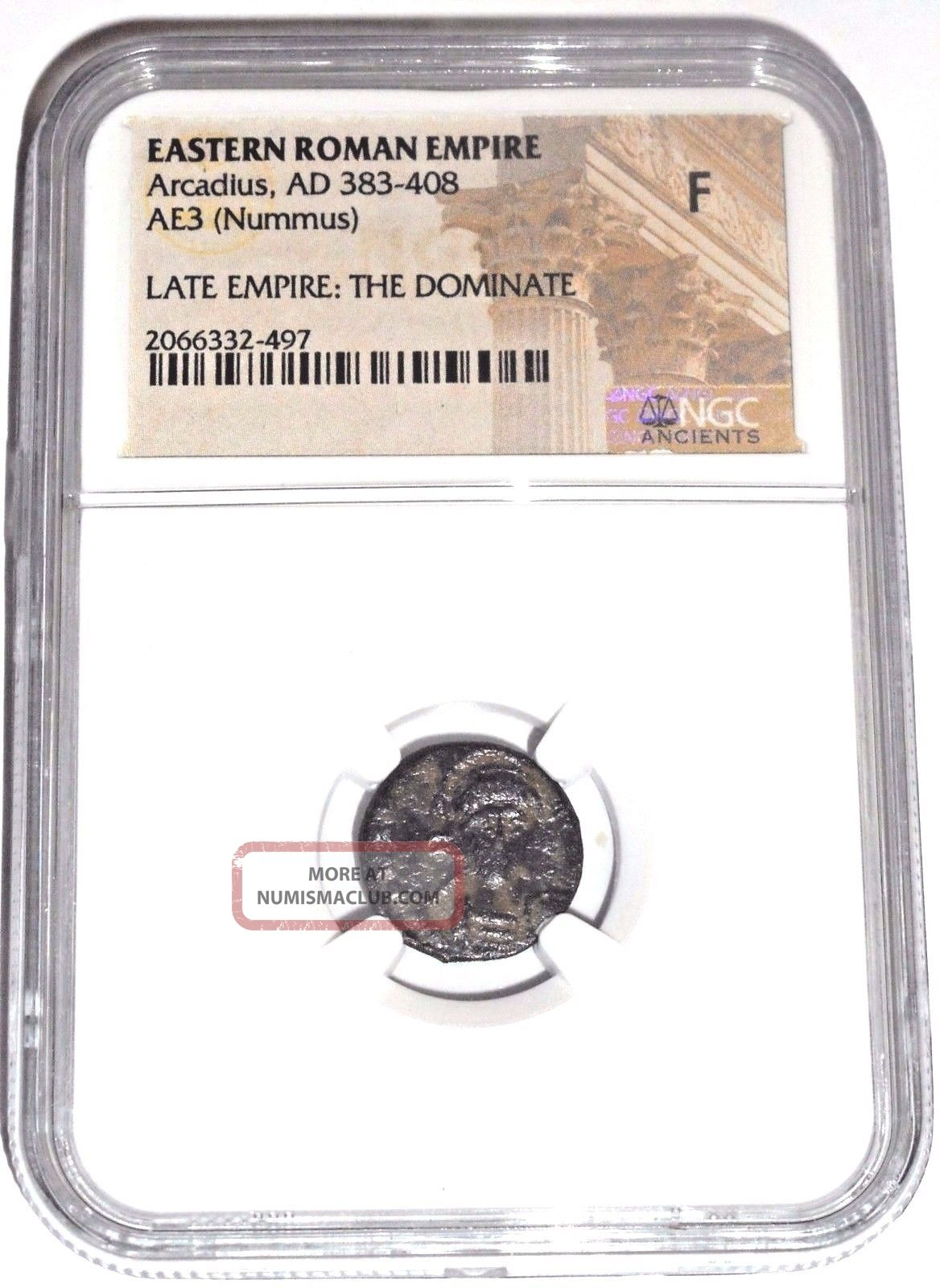 Eastern Roman Empire Arcadius The Dominate Nummus Coin,  Ngc Certified F Coins: Ancient photo