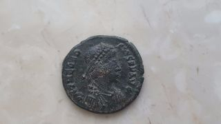 Ancient Roman Coin Emperor Theodosius W/ Victory & War Captive photo