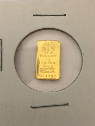 Argor Heraeus Sa Switzerland 1g 999.  9 Fine Gold 24k photo