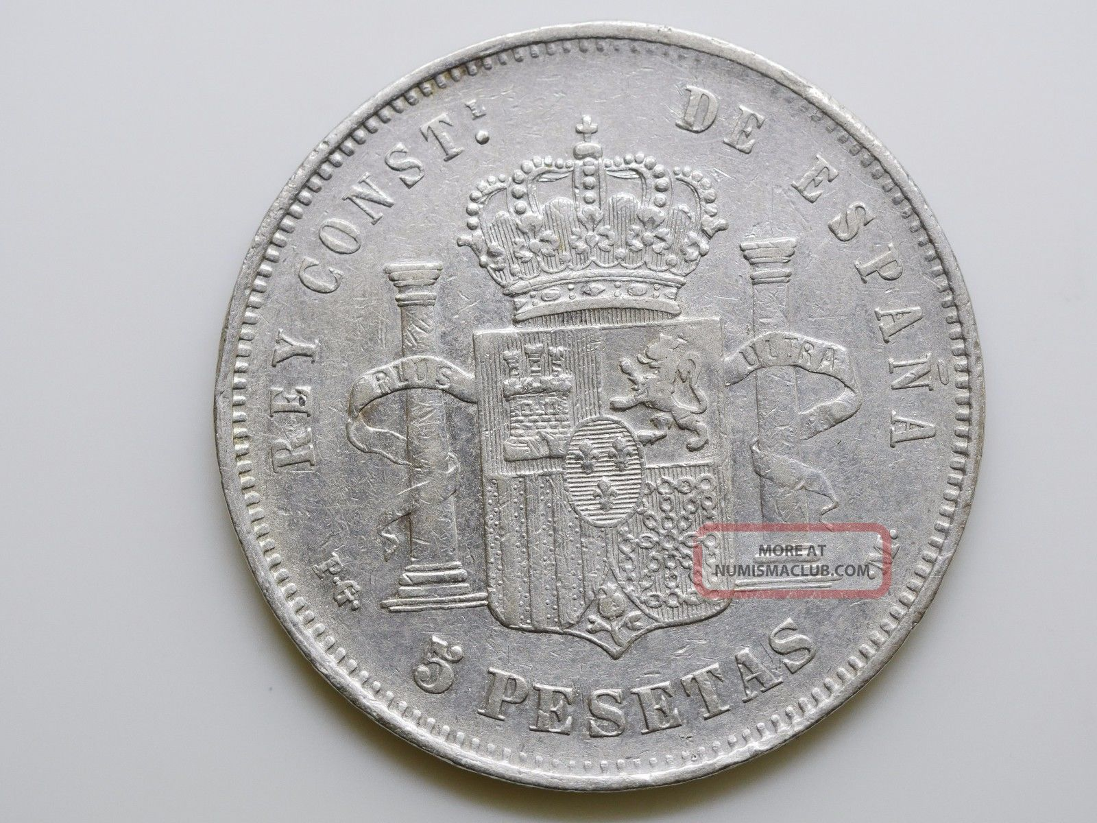 Spain 5 Pesetas Km 689 1892 Silver Coin Europe photo