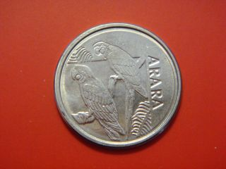 Brazil 5 Cruzeiros Reais,  1993,  Macaw Parrots,  Bird Coin photo