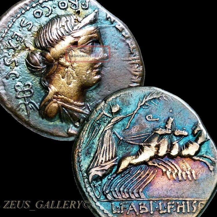 Age Sulla 82 Bc Annia 2 Anna Perenna Chariot Ancient Roman Silver Denarius Coin Coins: Ancient photo