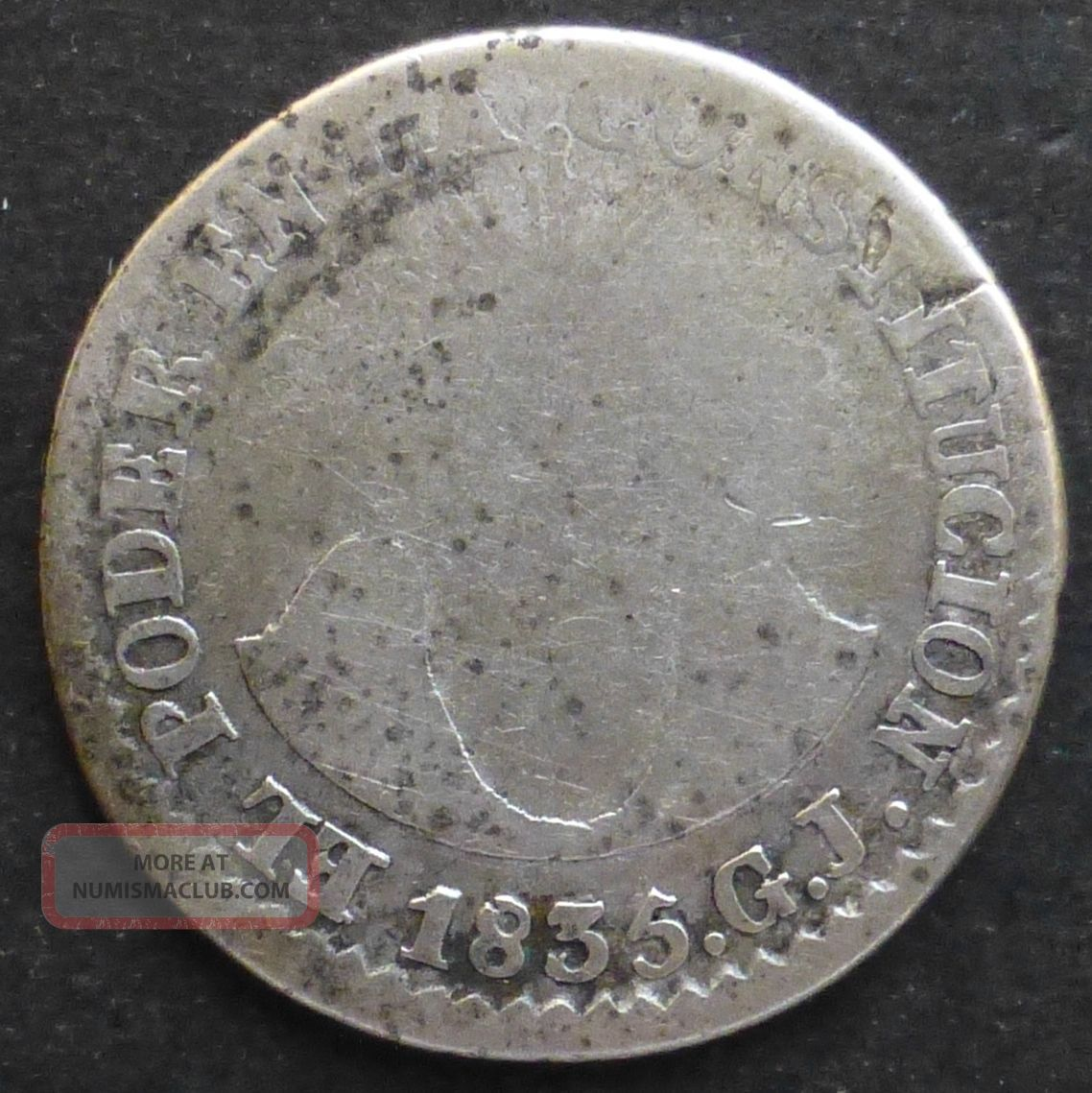 Ecuador 2 Reales 1835gj Km 14 Scarce South America photo