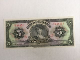 5 Pesos De Mexico Banknote 1961 Unc.  Abnc photo