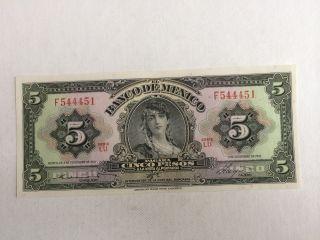 5 Pesos De Mexico Banknote 1961 Unc.  Abnc photo