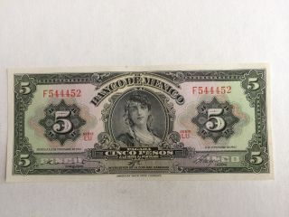5 Peso Mexico Banknote 1961 Gypsy Uncirculated Abnc. photo