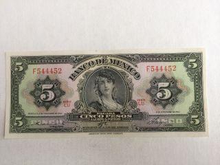 5 Peso Mexico Banknote 1961 Gypsy Uncirculated Abnc. photo