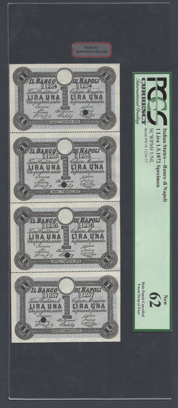 Italy,  Banco Di Napoli 4 Uncut Sheet One Lira 1 - 5 - 1872 Pick Unlisted Specimen Unc Europe photo
