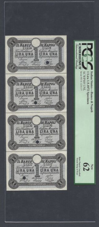Italy,  Banco Di Napoli 4 Uncut Sheet One Lira 1 - 5 - 1872 Pick Unlisted Specimen Unc photo