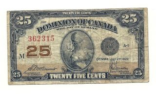1923 Dominion Of Canada Twenty Five Cents Bank Note photo