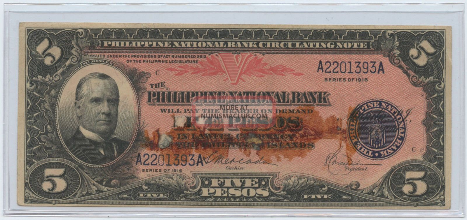 1916 Philippine National Bank 5 Pesos Circulating Note Serial A2201393a Asia photo