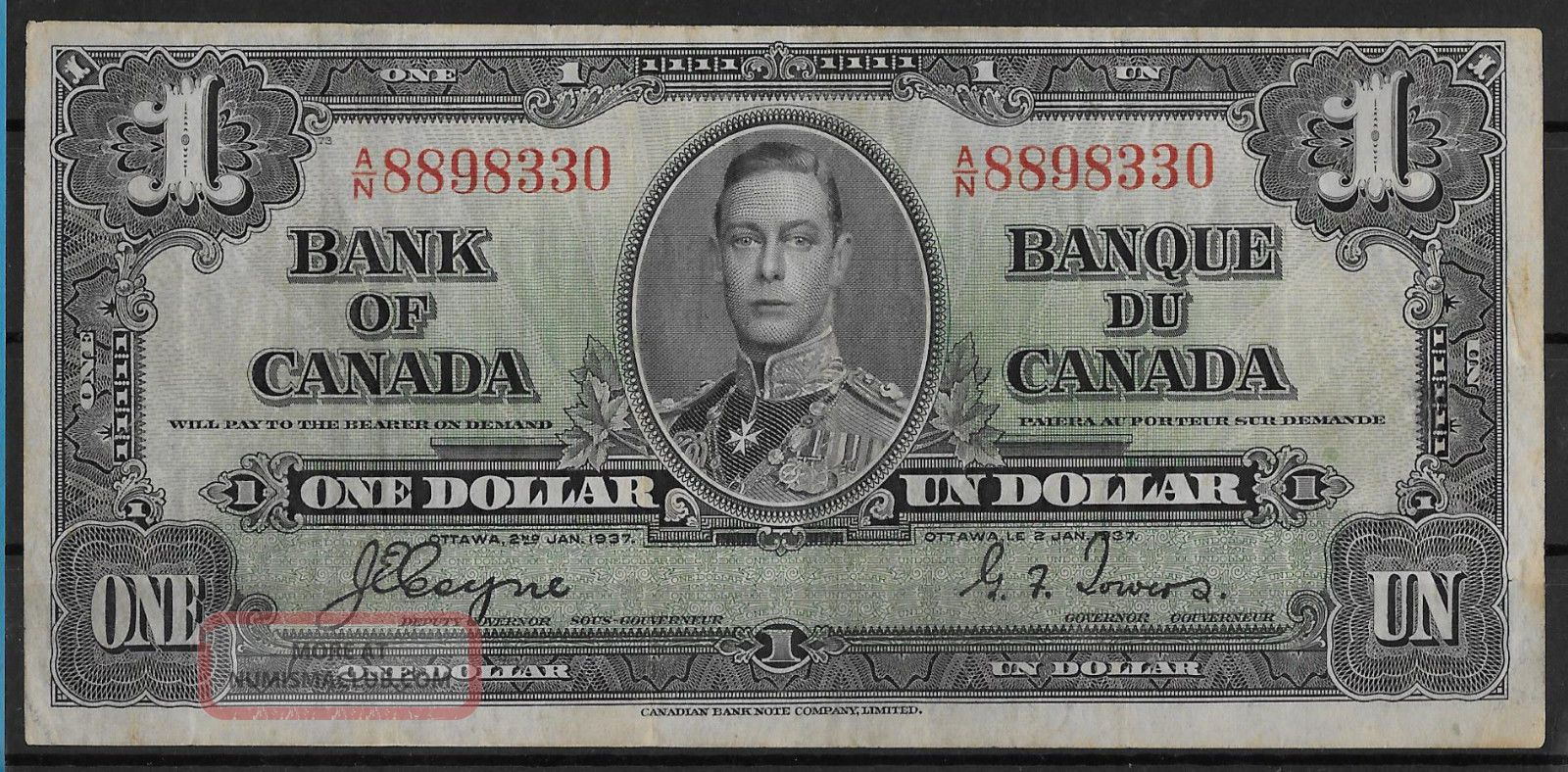 , 1937 Canada King George Vi $1.  00 Bill Bank Note Currency English & French Text Canada photo