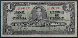 , 1937 Canada King George Vi $1.  00 Bill Bank Note Currency English & French Text photo