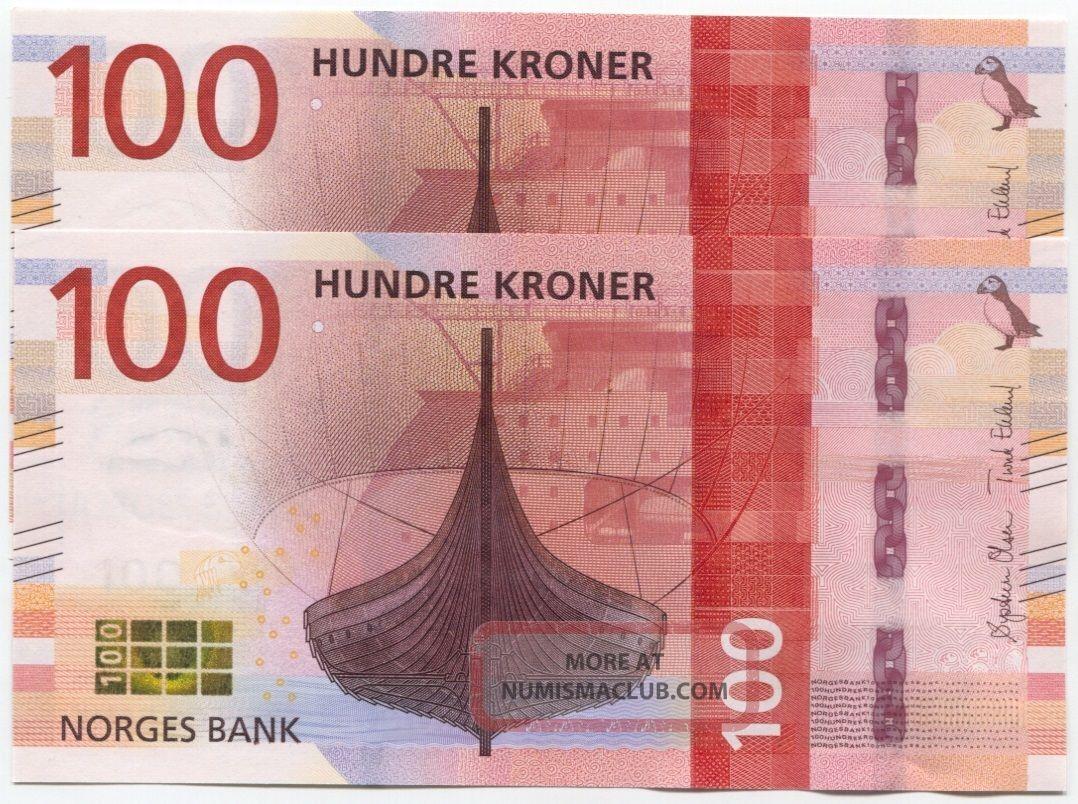 Norway 100 Kroner 2016 (2017) Unc,  Design,  P -,  Consecutive Pair Europe photo