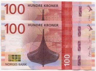 Norway 100 Kroner 2016 (2017) Unc,  Design,  P -,  Consecutive Pair photo