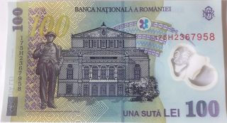 Romania - Unc 100 Lei Banknote Issued 2005 (2017) Polymer P121 photo