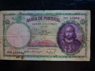 Portugal 20 Escudos 1948,  F photo