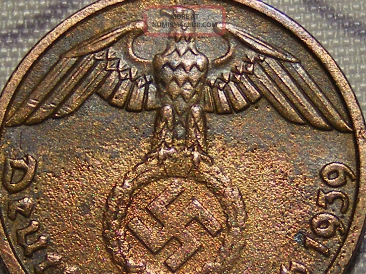 1939 Wwii Nazi Hitler Germany 3rd Reich Munich 1 Reichspfennig Copper War Coin Germany photo