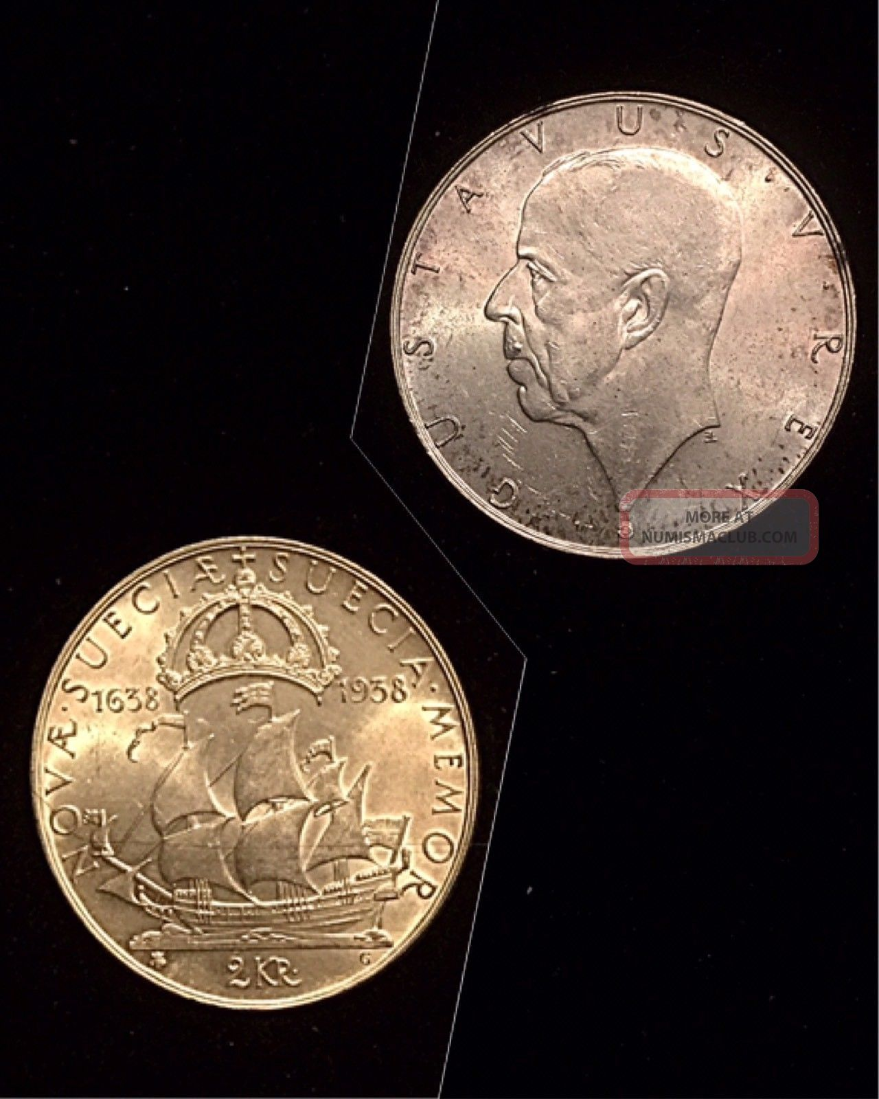Sweden 1938 Silver 2 Kronor 15g Sweden photo