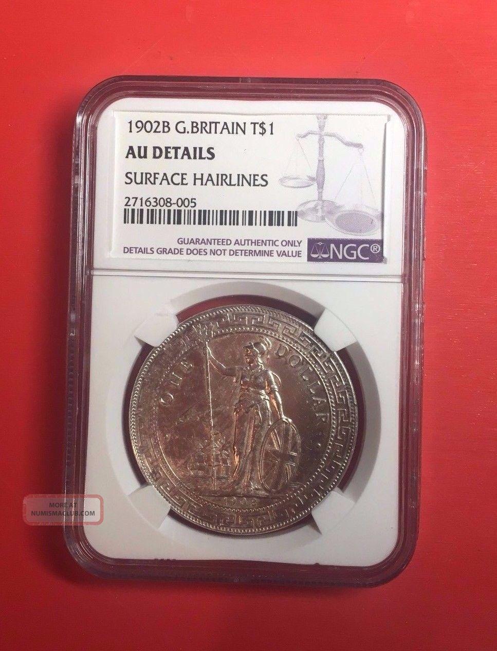 Great Britain China Hong Kong Trade Dollar 1902b Ngc Au Details Coin UK (Great Britain) photo