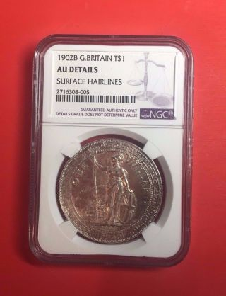 Great Britain China Hong Kong Trade Dollar 1902b Ngc Au Details Coin photo