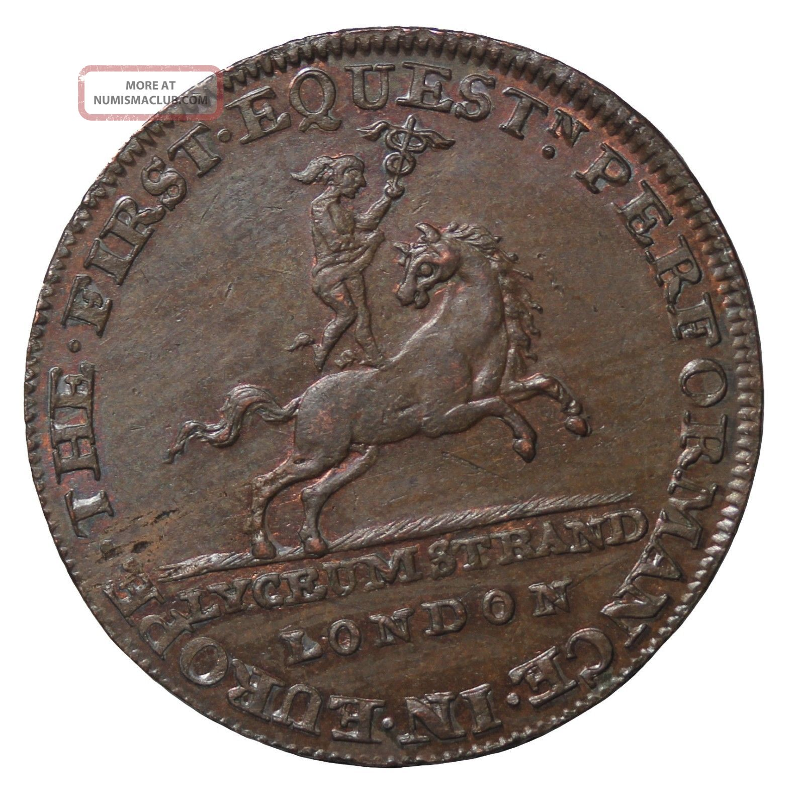 1790 ' S Great Britain Middlesex Lyceum Theatre Halfpenny Conder Token D&h - 362a UK (Great Britain) photo