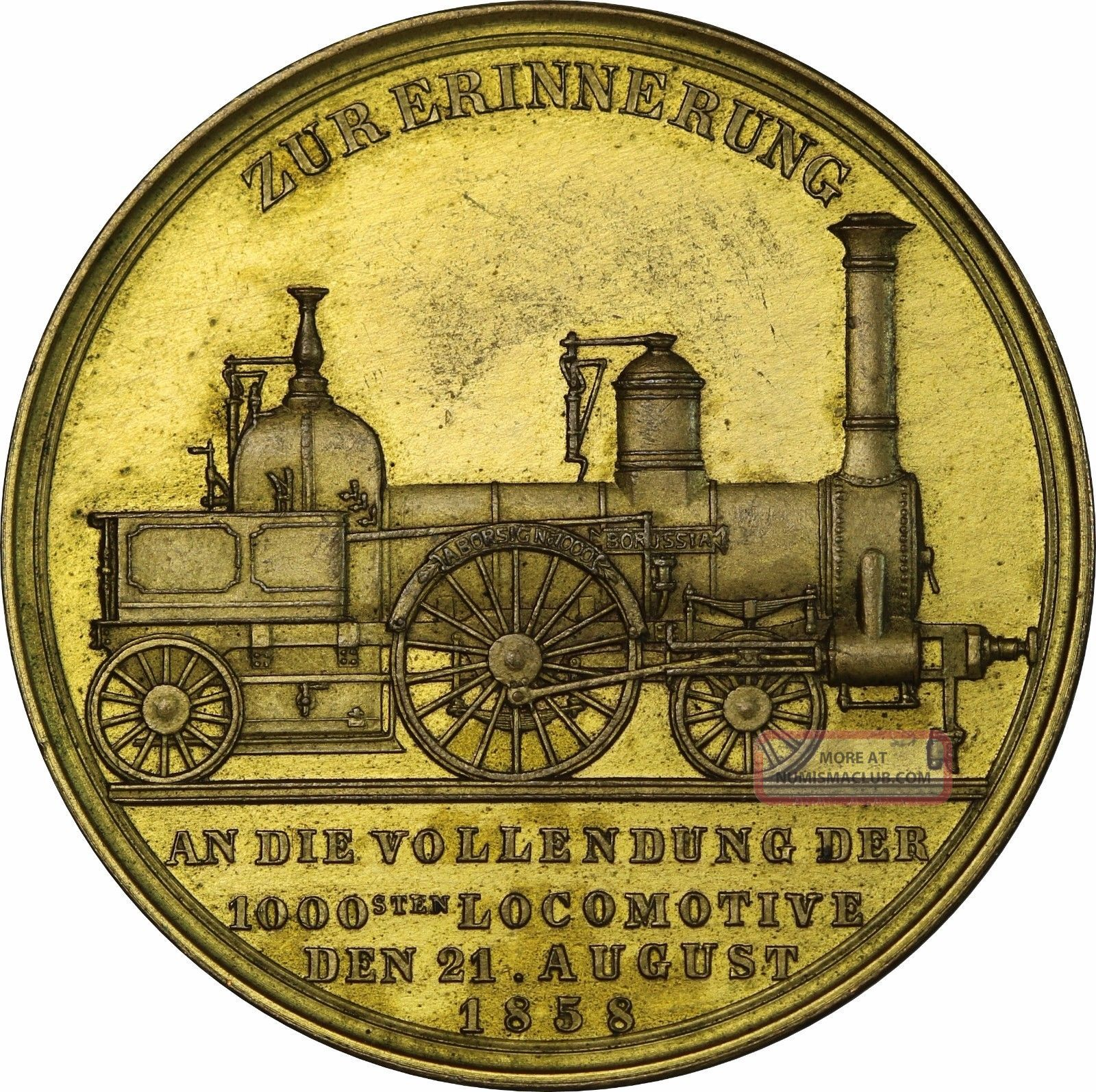 Germany – 1858 Gilt Bronze Medal By Kullrich,  Train,  Railroad Exonumia photo