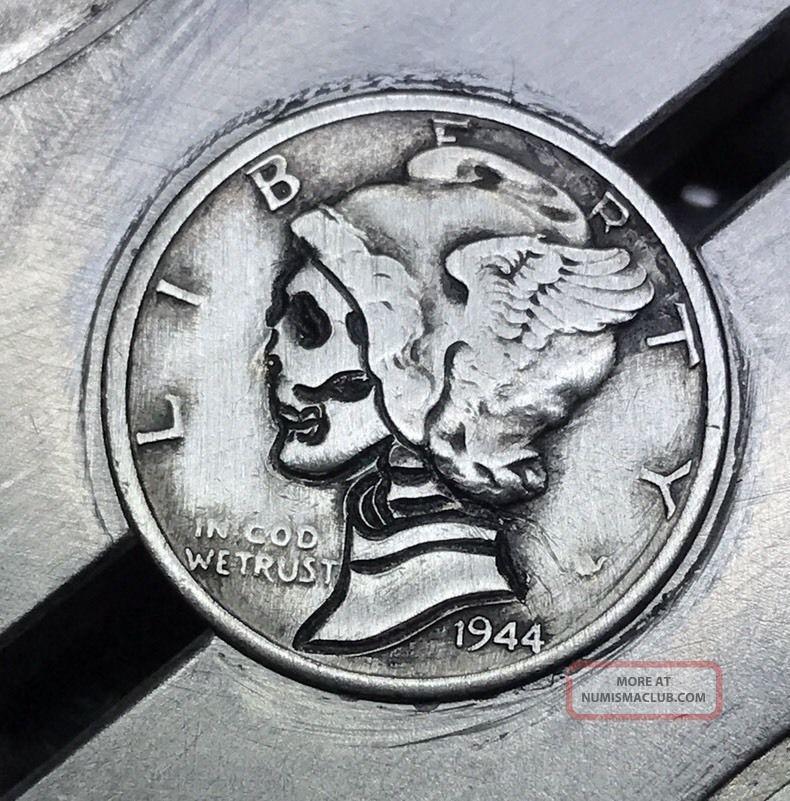 90 Silver Dime Hobo Nickel Coin Art Skull 33 Exonumia photo