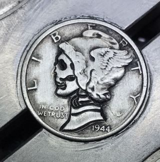90 Silver Dime Hobo Nickel Coin Art Skull 33 photo