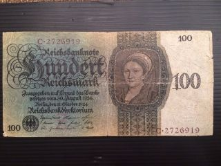 Germany,  100 Reichsmark 1924 P 178 photo