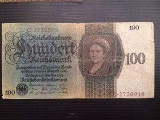 Germany,  100 Reichsmark 1924 P 178 photo