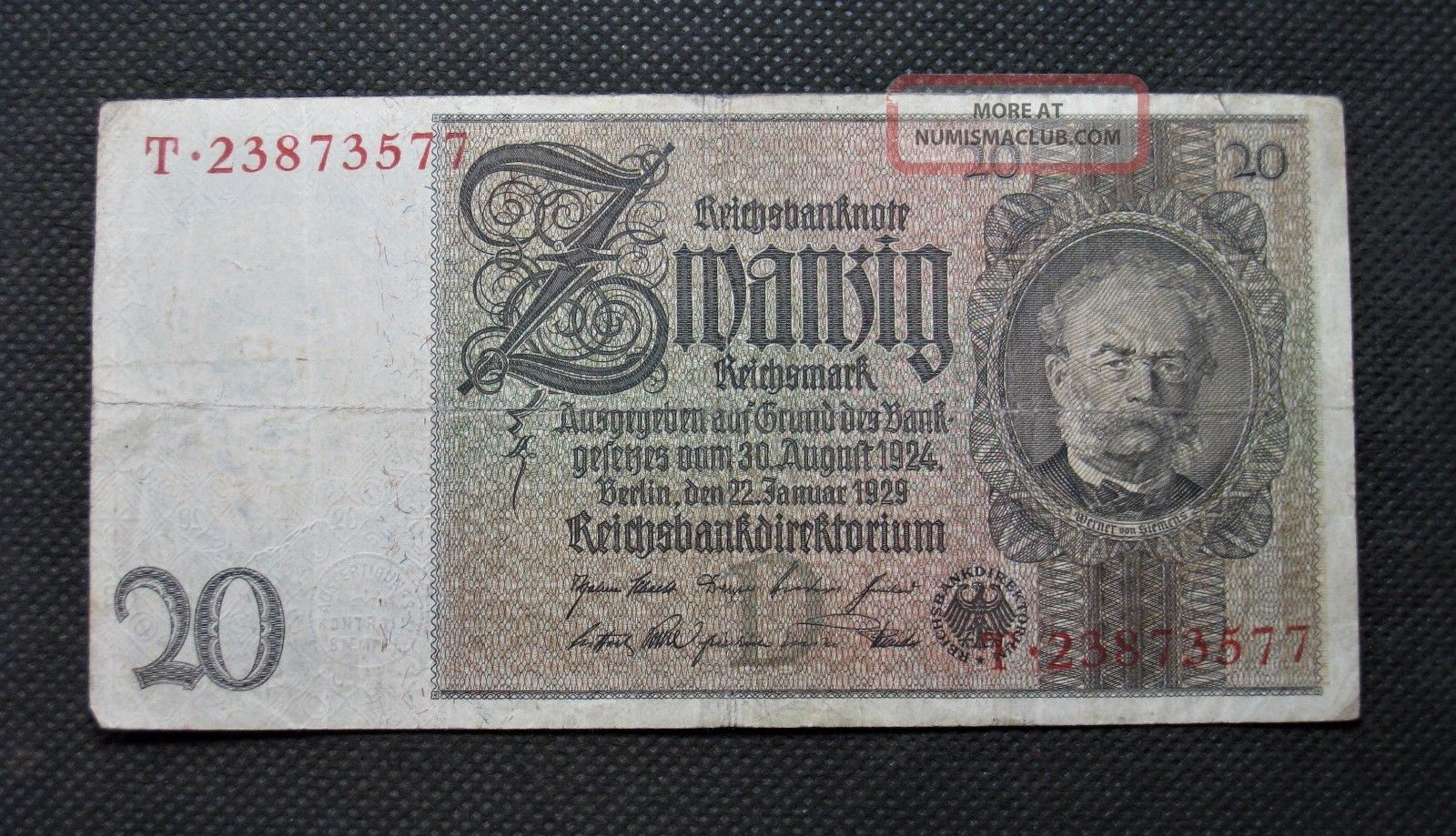Old Bank Note Of Nazi Germany 20 Reichsmark 1929 Third Reich No.  T23873577 Europe photo